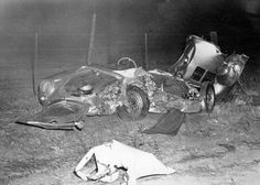 "Wreckage of James Dean's ""Little Bastard""."