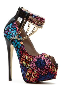 Pink Mosaic Draped Chains Peep Toe Stilettos @ Cicihot Heel Shoes online store sales:Stiletto Heel Shoes,High Heel Pumps,Womens High Heel Shoes,Prom Shoes,Summer Shoes,Spring Shoes,Spool Heel,Womens Dress Shoes