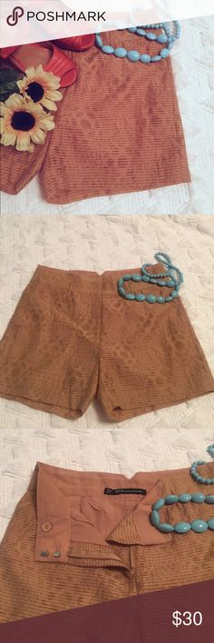 W118 by Walter Baker shorts Gorgeous trendy mid waisted shorts with a shell of sheer tan with hints of green and a tan lining.  Great condition with a super vintage feel! W118 by Walter Baker Shorts