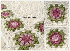 REGALO: Manta con Borde d e Flores (Crochet) Made by / Hecho por : Beatriz My mom made this baby blanket, with white. Motifs Granny Square, Flower Granny Square, Crochet Blocks, Crochet Squares, Crochet Patterns, Baby Blanket Crochet, Crochet Baby, Free Crochet, Grannies Crochet