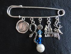 Kilt Pin with Charms Swarovski Crystals Glass by TheMagpizeNest