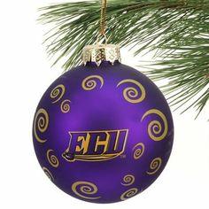 East Carolina Pirates Swirl Ball Ornament - Purple