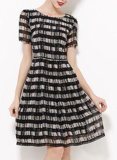 [€ 49.24] Chiffon With Print Knee Length Dress (199087172)