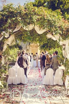 ATTARD  - Amazing inspiration for a secret garden wedding ceremony. This one is at Villa Bologna in Malta, the sprawling gardens can be decorated & tailored to suit the size and requirements of your destination wedding abroad
