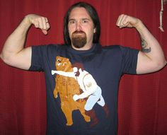MAAAAAMMMM!!!! GET THIS FOR DAVID!!!  tshirt, tee, Man Punching Bear Men's t-shirt, sizes S-2XL available on Etsy, $21.00