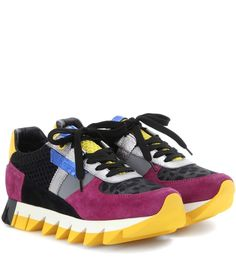 Dolce & Gabbana - Leather, suede and fabric sneakers - Dolce & Gabbana brings together contrasting materials and a sportswear-inspired silhouette to offer an elevated take on the casual favourite. The colourful, material-mix panels add enduring city-cool appeal. The chunky saw-tooth rubber sole adds a little height for a statement-making finish. - @ www.mytheresa.com
