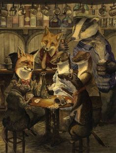 The card game by chris dunn fox art, badger, chris dunn, niedliche illustration Art And Illustration, Fantasy Kunst, Fantasy Art, Fuchs Baby, Chris Dunn, Fox Art, Woodland Creatures, Whimsical Art, Illustrators