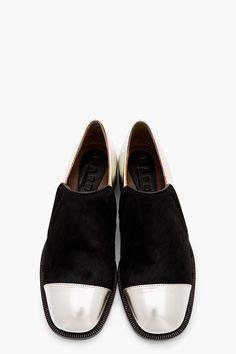 MARNI Silver Leather & Black Calf-Hair Lux Flats