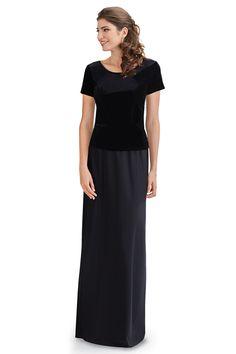 Black Velvet top with extended length, short sleeves, side vents, and scoop neckline. Concert Dresses, Drip Dry, Velvet Tops, Easy Wear, Solid Black, Short Sleeves, Long Dresses, Choir, Skirts