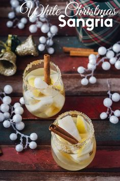 Christmas doesn& have to be all about eggnog and peppermint. This White Christmas Sangria will have you singing Bing Crosby in no time. Christmas Cocktails, Christmas Brunch, Holiday Drinks, Party Drinks, Fun Drinks, Yummy Drinks, Holiday Recipes, Beverages, White Christmas Sangria Recipe