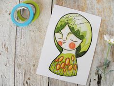 Spring postcard green flowers girl portrait