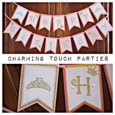 Shades of pink and gold glitter princess happy birthday banner by Charming Touch Parties.  Deluxe and customizable. by CharmingTouchParties on Etsy