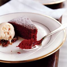 Red Velvet Cake with Cream Cheese Ice Cream // More Beautiful Desserts: http://www.foodandwine.com/slideshows/beautiful-desserts #foodandwine