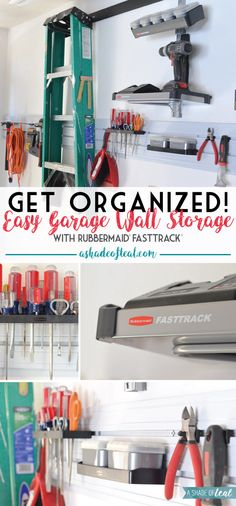 Get Organized! Easy Garage Wall Storage. Learn how I saved a ton of space with my new garage storage wall using Rubbermaid's FastTrack Garage Organization System. #GarageCleanUp #ad | A Shade Of Teal