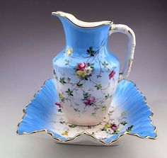 Antique C. T. Hand Painted Pitcher and Bowl Wash Basin  #Victorian #CT