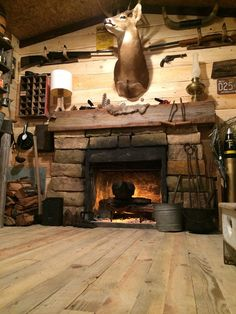 Amazing Rustic Cabin Man Cave Built in Basement fo… Diy Fireplace, Fireplace Design, Man Cave Fireplace, Fireplaces, Ideas De Cabina, Rustic Man Cave, Gun Rooms, Man Cave Basement, Tiny House