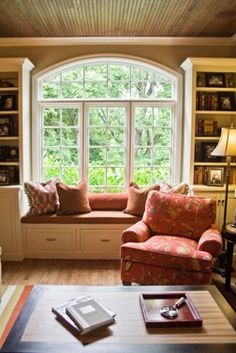love the sitting window and the bookshelves