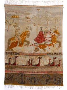 To store billedtepper forteller historien om Kong Sigurds reise til Jorsal (Jerusalem) og Miklagard (Konstantinopel/Istanbul) i 1108 - 1111. Riksteppene: Møtet med kong Baldvin. Foto: De kongelige samlinger, Oslo, Norge.