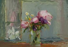 Christine Lafuente, Peonies, Yellow Flowers and Porch Detail, oil on board, 13 x 18 inches