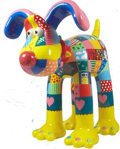 Patch | Gromit Unleashed - patchwork-inspired Gromit featured many of the Wallace & Gromit characters hidden in the individual swatches – and he even had a ball of wool for his nose and buttons for toes!