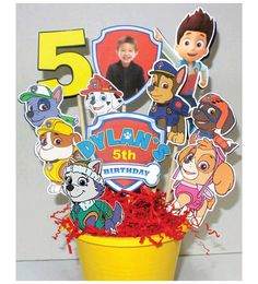 Paw Patrol Party Decoration Centerpiece with New Pup Everest by KidsInvitations on Etsy https://www.etsy.com/listing/212707218/paw-patrol-party-decoration-centerpiece