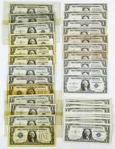 Lot 2: $1 Silver Certificates; 102 notes including consecutive bills *01119167B-*01119190B, F31514571A-F31514580A and F31514582A-F31514595A