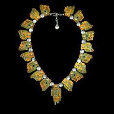 Hi Tec Aztec Necklace custom made by Corliss & John Rose, from repurposed circuit boards.
