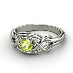 Infinity Knot Ring, Round Peridot White Gold Ring from Gemvara