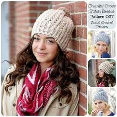 Just in time for fall! Make this adorable chunky beanie with Lion's Pride Woolspun!