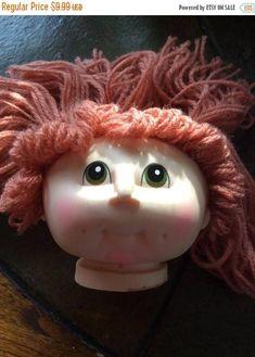 25%offSale Vintage rubber doll head acrylic yarn hair red hair