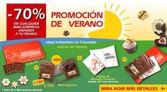 Aproveche nuestras promociones de verano. ¡Ideas de chocolate irresistible! Chocolate, Monopoly, Mini, Bonbon, Ideas, Messages, Summer Time, Chocolates, Brown