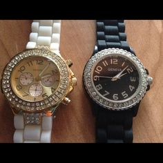 NWOT Lot of 2 Geneva Rhinestone Watches Add glitz and glam to your look with these NWOT Geneva Rhinestone Watches. Both need new batteries. Priced at under $10/watch! Make an offer! Geneva Accessories Watches