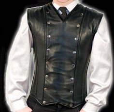 Digital rendering of black veggie leather steampunk/gothic men's waistcoat paired with white dress shirt and dark tie.. DIY the look yourself: http://mjtrends.com/pins.php?name=veggie-leather-waistcoat