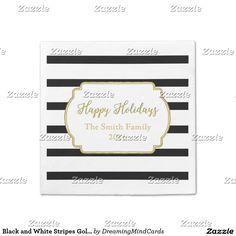 Black and White Stripes Gold Christmas Napkins