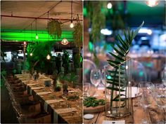Urban Forrest Feast | Edison Bulbs, Raw Tables and Ghost Chairs
