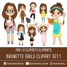 Girl Clipart Brown Hair 1