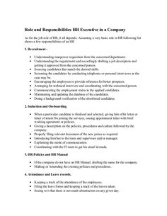 Role And Responsibilities HR Executive In A Company As For The Job Role Of  HR,