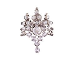 Karen Karch  Platinum Diamond Floating Star Ring  kar-r4ca  price:  $6,200  (paired with Invincible Ring, top)