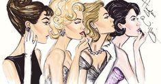"""Old Hollywood"" fashion illustration of Audrey Hepburn, Marilyn Monroe, Grace Kelly and Elizabeth Taylor by Hayden Williams."