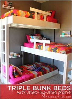 We have been dreaming about custom triple bunk beds since we found out we  were having girl number three over three years ago! They finally became a  reality and we built these amazing beds for our girls a few months ago. We  love how they turned out and the kids absolutely love them! Disclaimer: if  you hate making beds, you will really hate making these ;)   Shelves and bedding are from IKEA. Large wooden initials are from Hobby  Lobby.   BUY THE PLANS BELOW!     Triple Bunk Bed Plans…