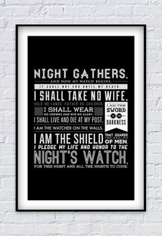 Game of Thrones  Night's Watch Oath print 11X17 by Pixology, $20.00