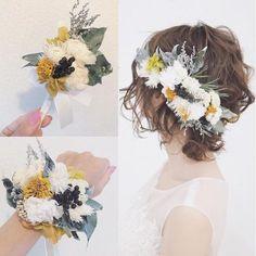 いいね!192件、コメント1件 ― acoさん(@aco_wedding.lilla)のInstagramアカウント: 「ヘッドドレスに合わせて、リストレットとブートニアもお揃いで #ウェディング#wedding#ウェディングヘア#ブライダル #bridal #ブライダルヘア…」 Flower Crown Hairstyle, Short Wedding Hair, Flowers In Hair, Bridal Style, Her Hair, Wedding Hairstyles, Wedding Planning, Wedding Inspiration, Hair Styles