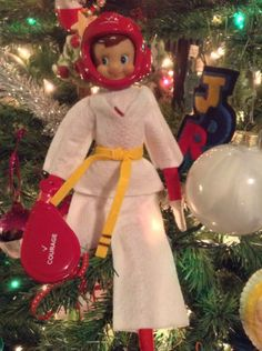 Elf on the Shelf ~ Elfey thought he would challenge Alex in Tae Kwon Do! Alex - 1, Elfey - 0!