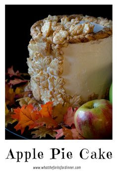 Apple Pie Cake - Layers of cake, crust and apple pie filling topped with silky buttercream make beautiful and delicious apple dessert!