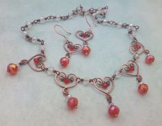 Copper Hearts necklace and earrings with red and clear AB crystals