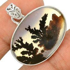 Scenic Dendritic Agate 925 Sterling Silver Pendant Jewelry SP196424 | eBay