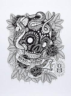 Brain Poison Mike Giant, Skull And Bones, View Image, Sugar Skull, Skulls, Ink, Rebel 8, Poster, Inspiration