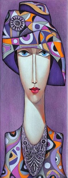 Lady with Hat by Wlad Safronow. (Oil Canvas)