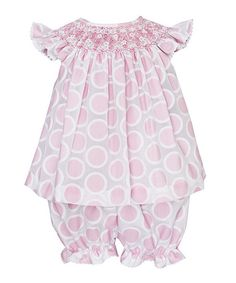Take a look at this Pink & White Kathy Smocked Top & Bloomers - Infant on zulily today!