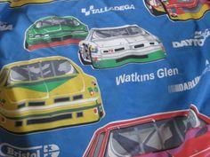 Vintage NASCAR Track Twin Flat Sheet by VintageByThePound on Etsy, $24.00
